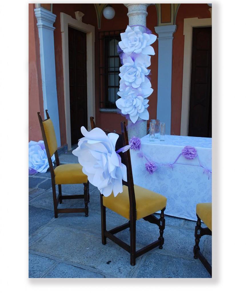 Allestimento matrimonio con fiori di carta